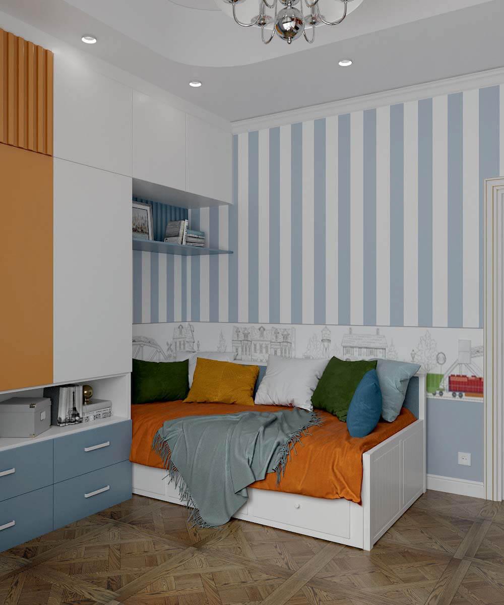 Мебель детской спальни мальчика 7 лет проект 3663-3
