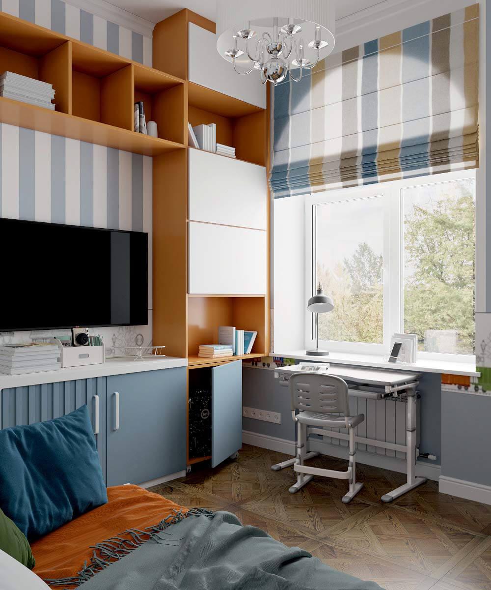 Мебель детской спальни мальчика 7 лет проект 3663-5