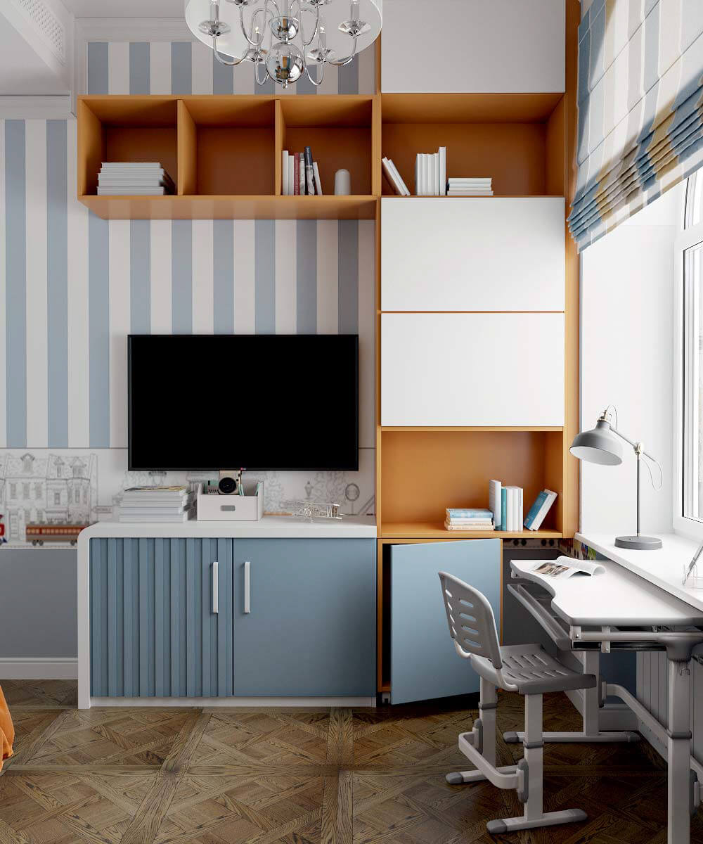 Мебель детской спальни мальчика 7 лет проект 3663-7