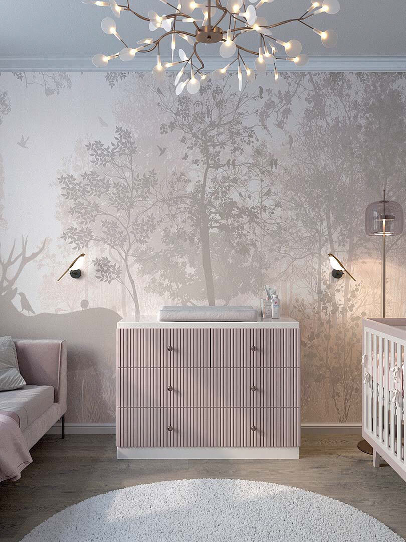 Мебель детской спальни маленькой девочки проект 5191-1