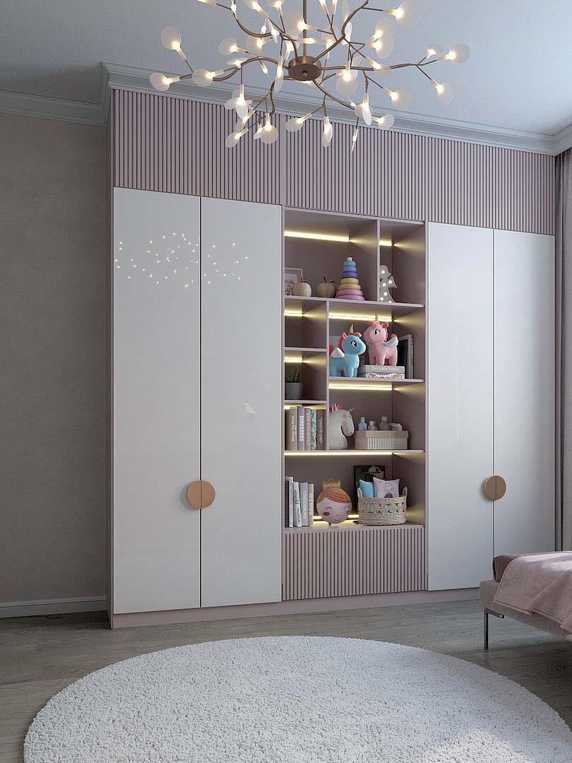 Мебель детской спальни маленькой девочки проект 5191-4