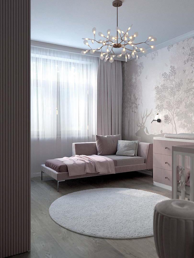 Мебель детской спальни маленькой девочки проект 5191-7