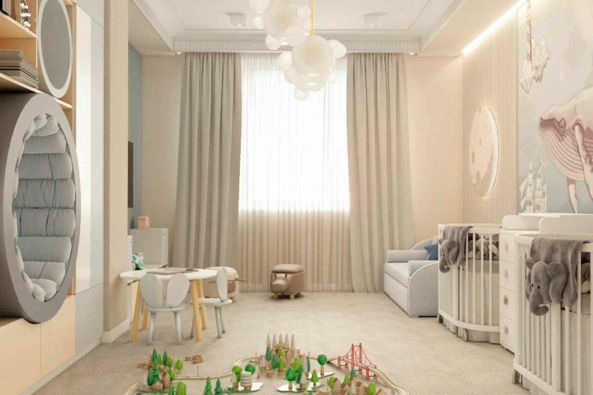 Мебель детской спальни новорожденных проект 4597-2