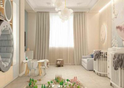 Мебель детской спальни для двух новорожденных — проект 4597