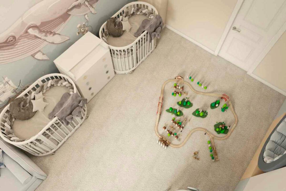 Мебель детской спальни новорожденных проект 4597-3
