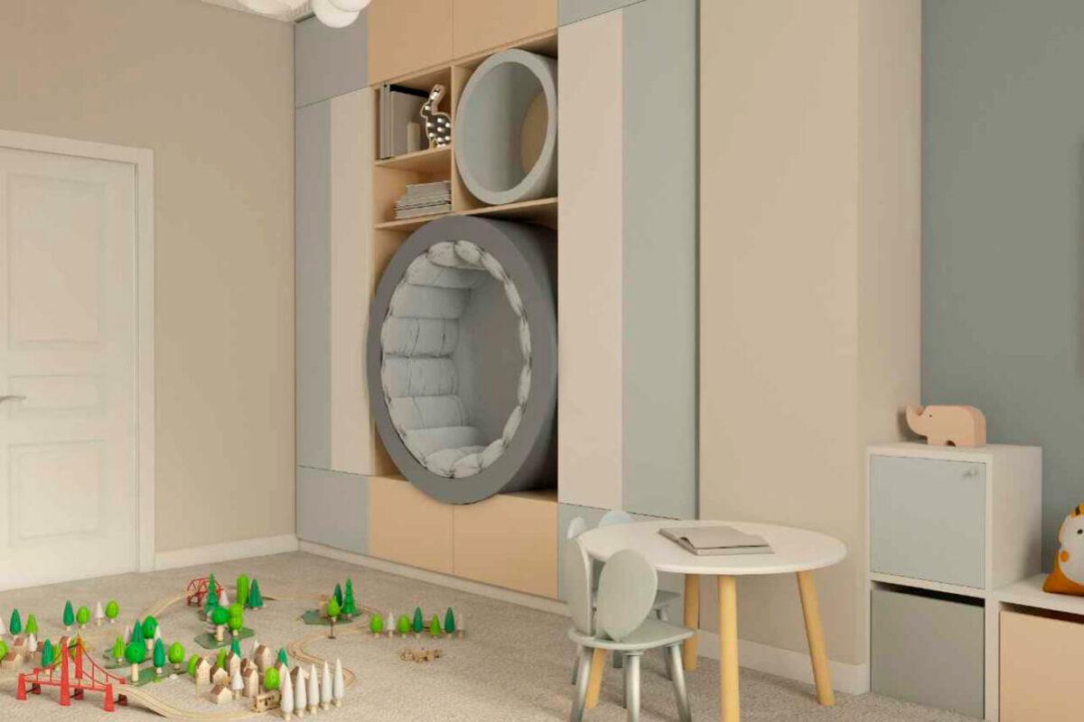 Мебель детской спальни новорожденных проект 4597-4
