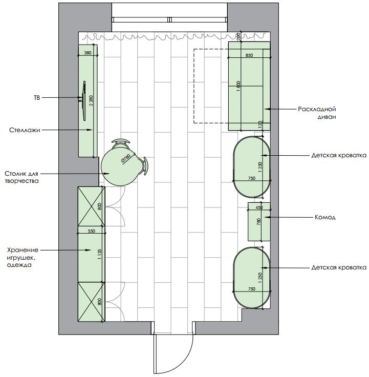 Мебель детской спальни новорожденных проект 4597-5