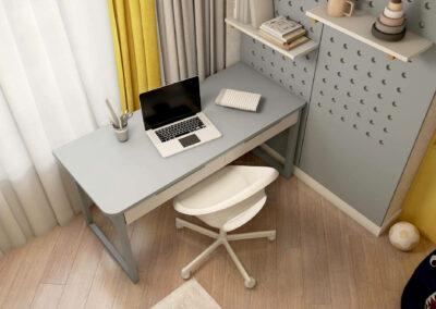 Мебель в серо-желтых тонах для детской комнаты мальчика — проект 3861
