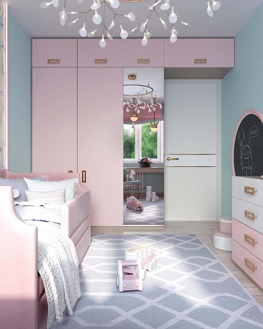 Мебель для детской спальни девочки 2 лет проект 3185-1