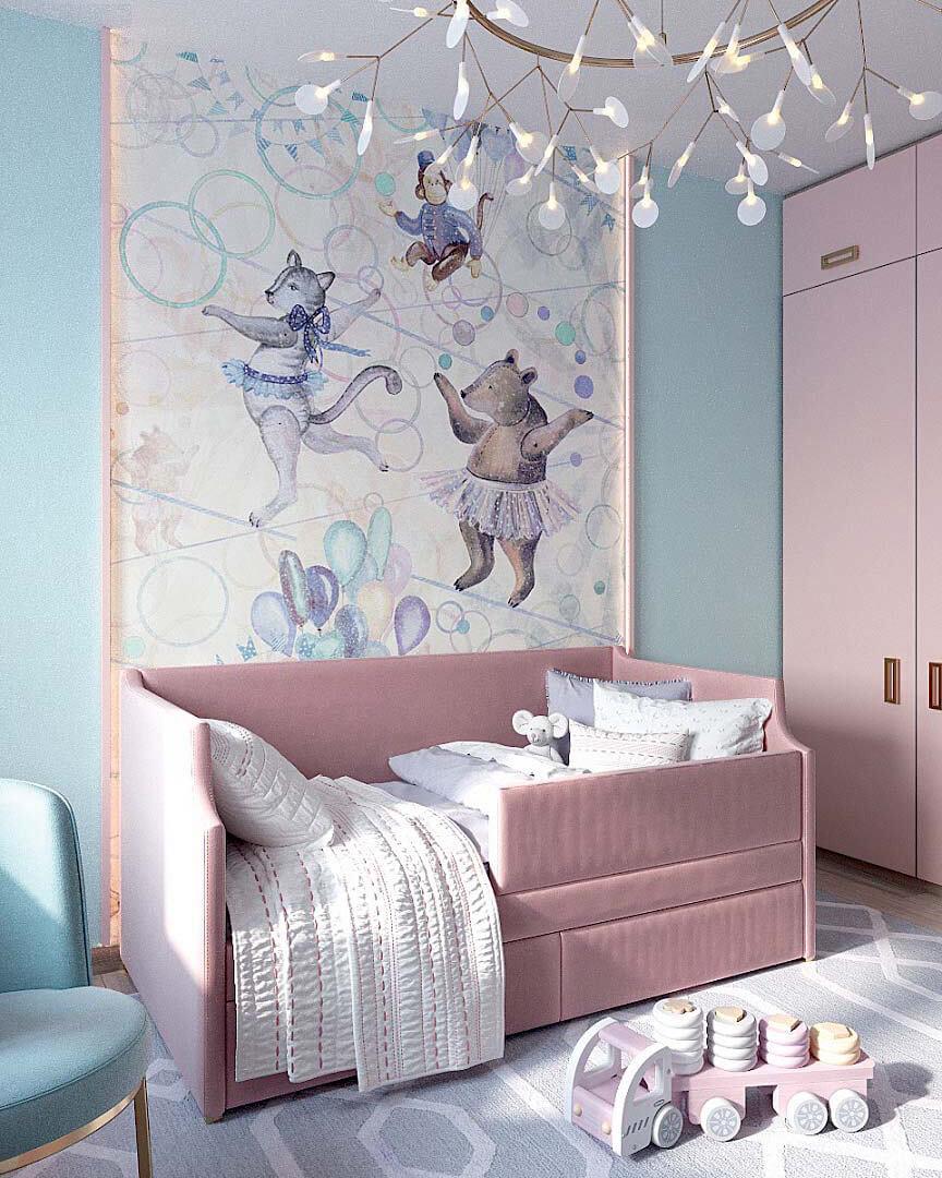 Мебель для детской спальни девочки 2 лет проект 3185-2