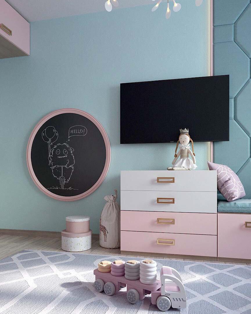 Мебель для детской спальни девочки 2 лет проект 3185-3