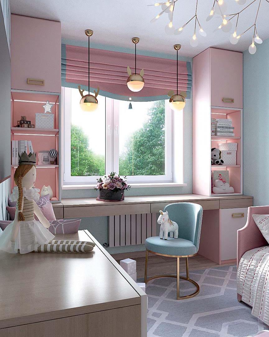 Мебель для детской спальни девочки 2 лет проект 3185-4