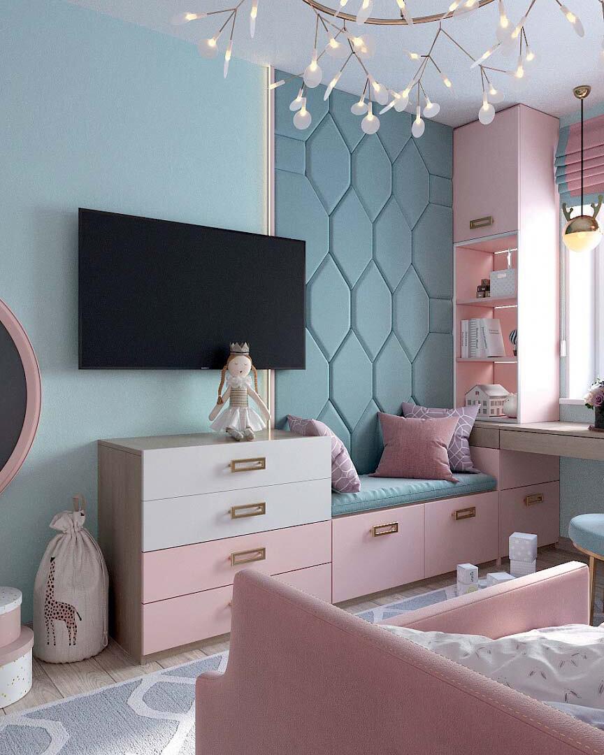 Мебель для детской спальни девочки 2 лет проект 3185-5