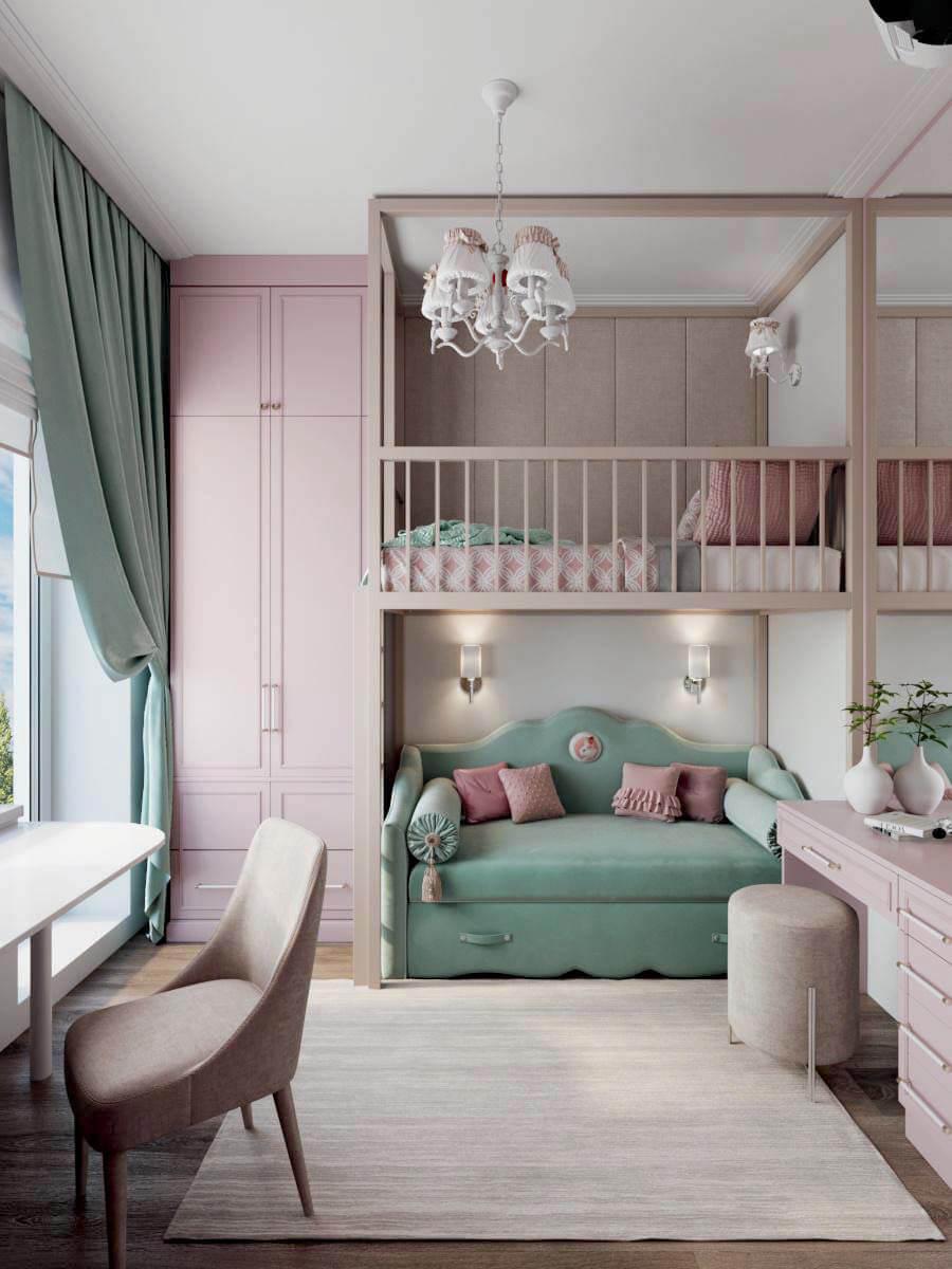 Мебель для детской спальни девочки проект 3371-4