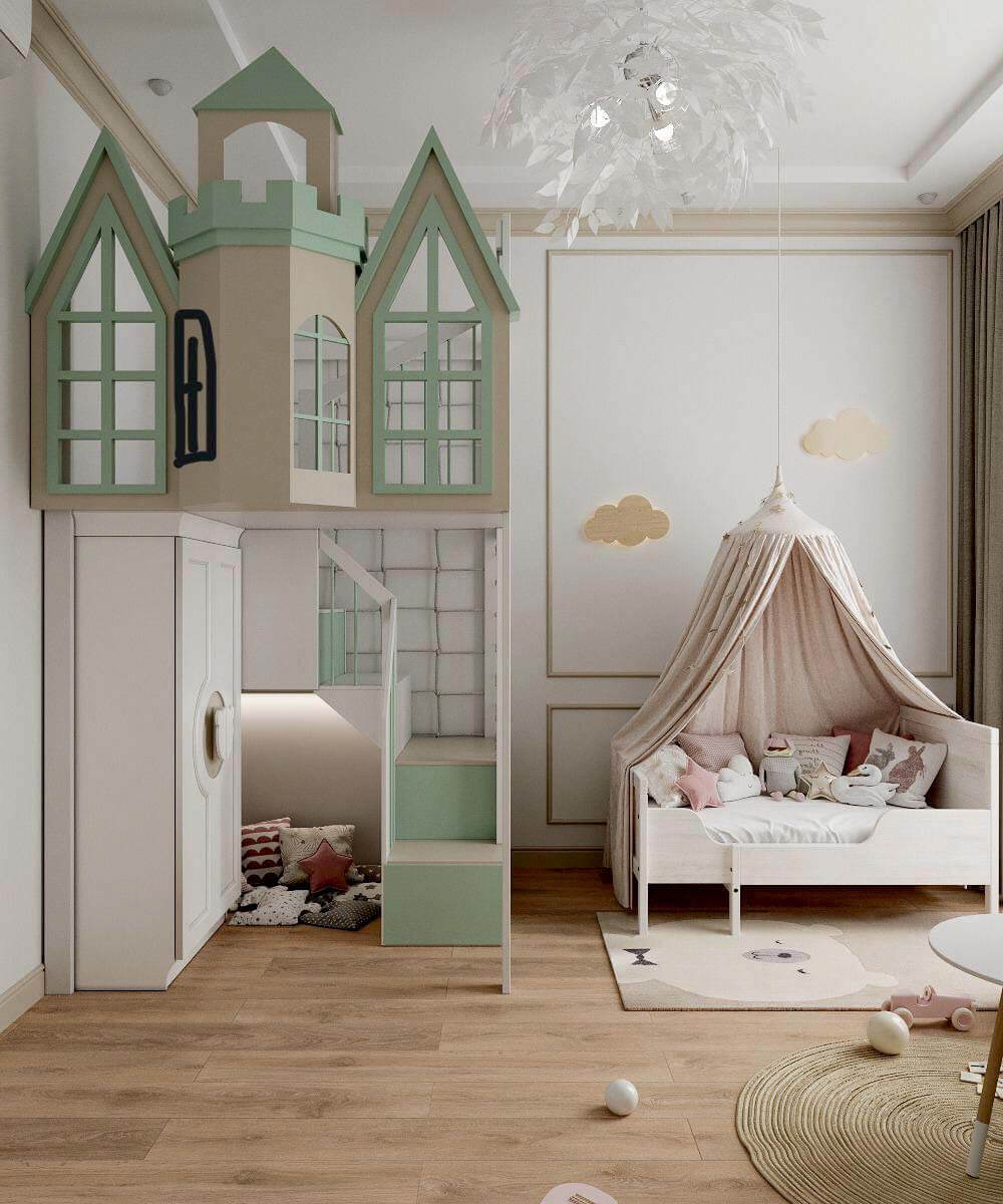 Мебель для игровой комнаты девочки проект 3323-5