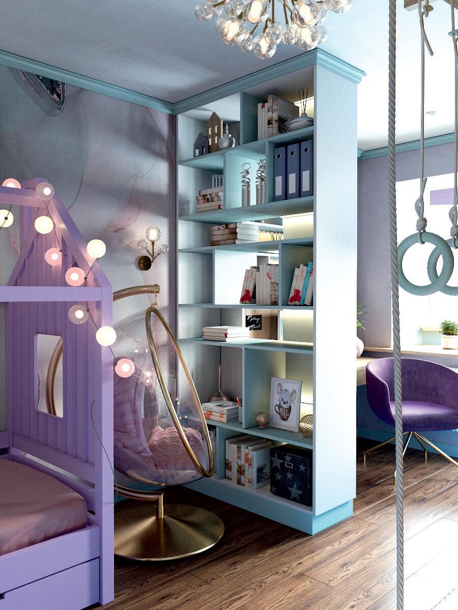 Мебель игровой комнаты для девочки 8 лет проект 4381-2