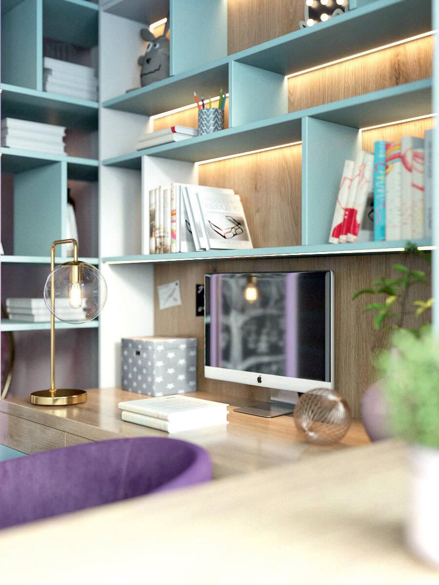 Мебель игровой комнаты для девочки 8 лет проект 4381-9