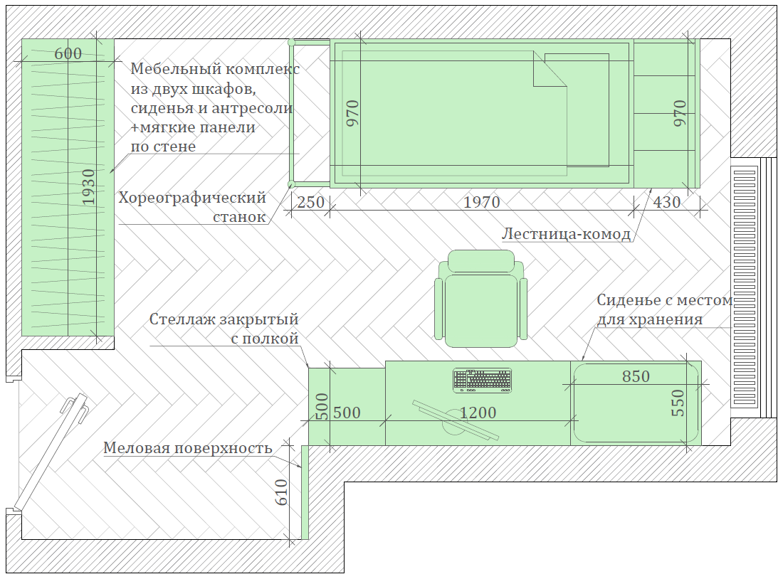 Мебель игровой комнаты для разнополых детей проект 3817-8