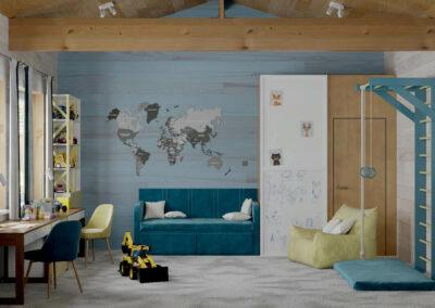 Функциональная мебель в игровую комнату мальчика — проект 5089-1