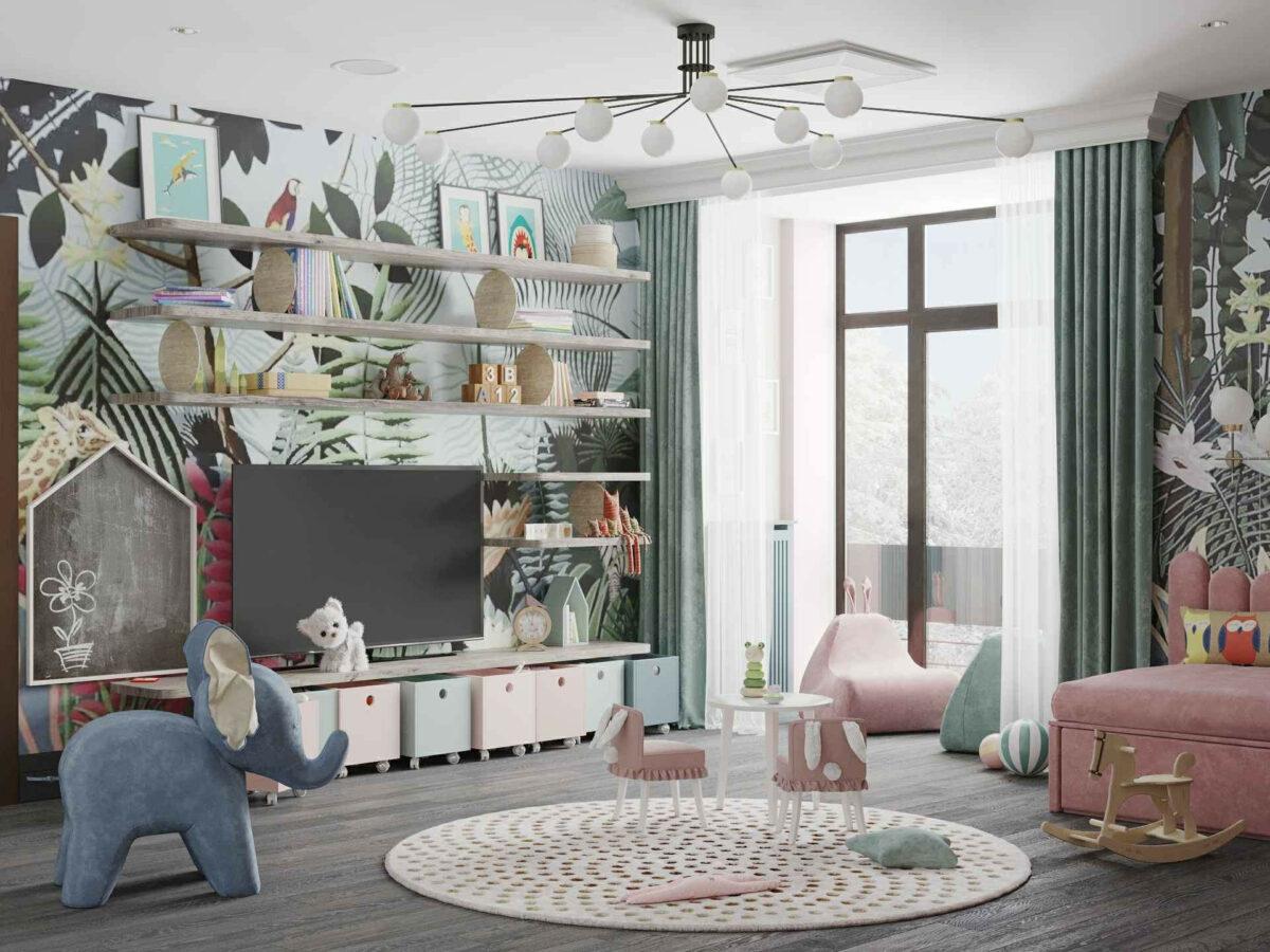 Мебель игровой комнаты маленькой девочки проект 4071-3