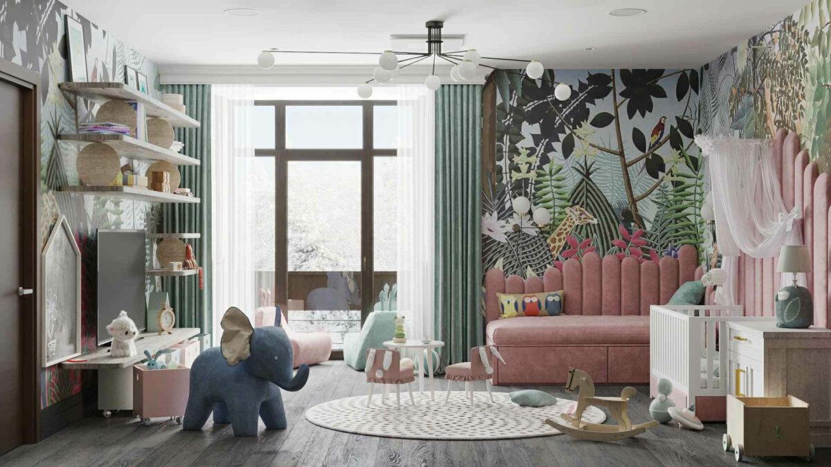 Мебель игровой комнаты маленькой девочки проект 4071-4