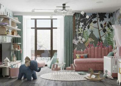 Мебель игровой комнаты для маленькой девочки — проект 4071