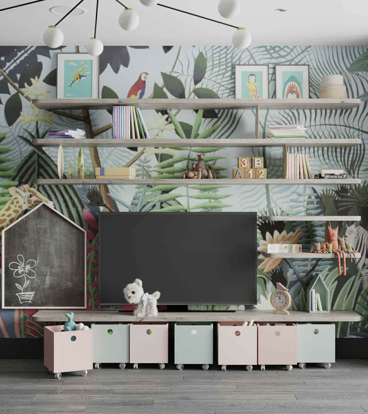 Мебель игровой комнаты маленькой девочки проект 4071-6