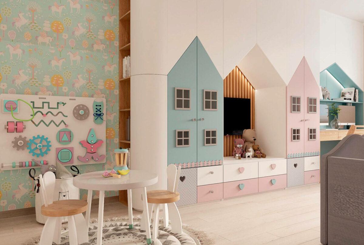 Мебель в детскую для девочки 3-5 лет проект 3615-2