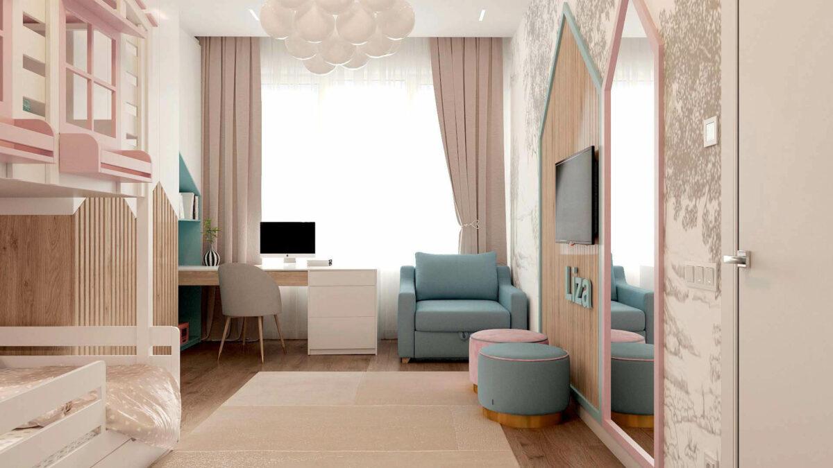 Мебель в детскую комнату для девочки проект 3555-1
