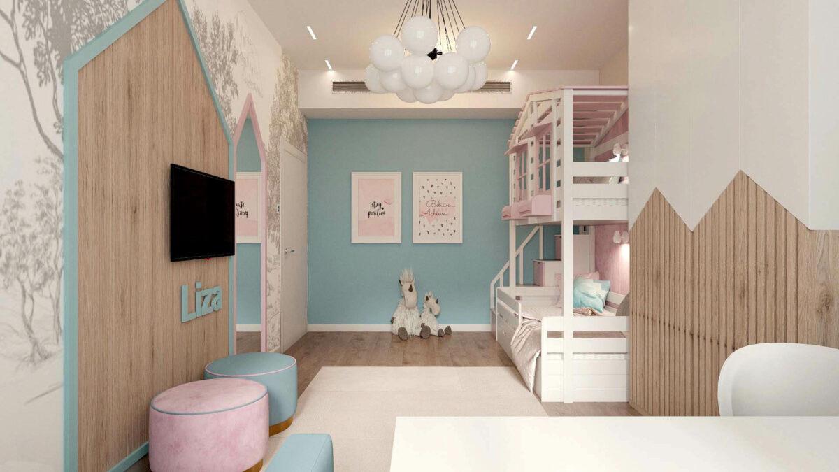 Мебель в детскую комнату для девочки проект 3555-2