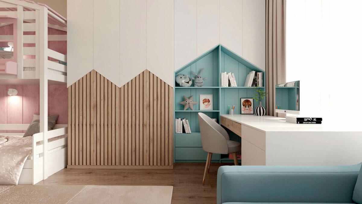 Мебель в детскую комнату для девочки проект 3555-3