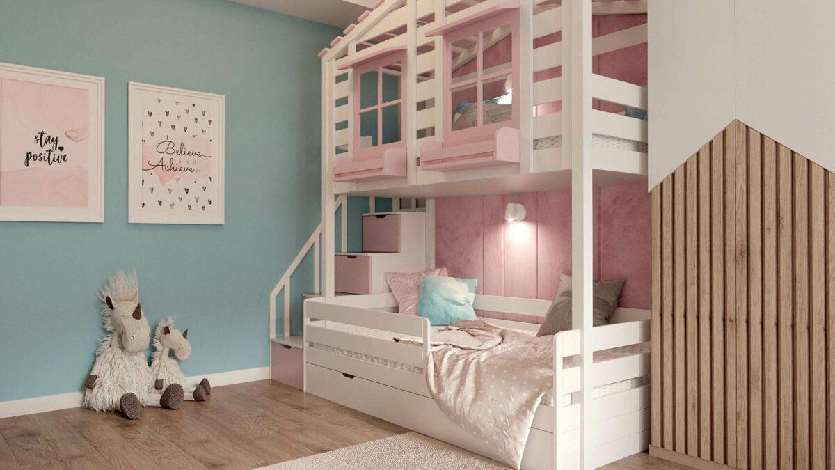 Мебель в детскую комнату для девочки проект 3555-4