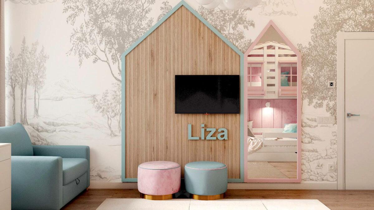 Мебель в детскую комнату для девочки проект 3555-5