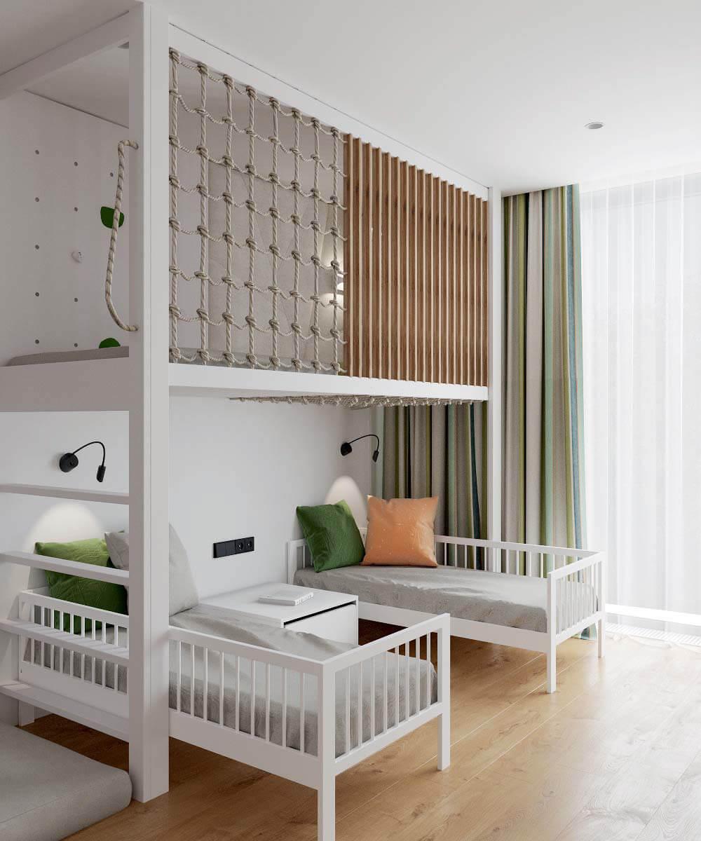 Мебель в детскую комнату для разнополых детей проект 3529-1