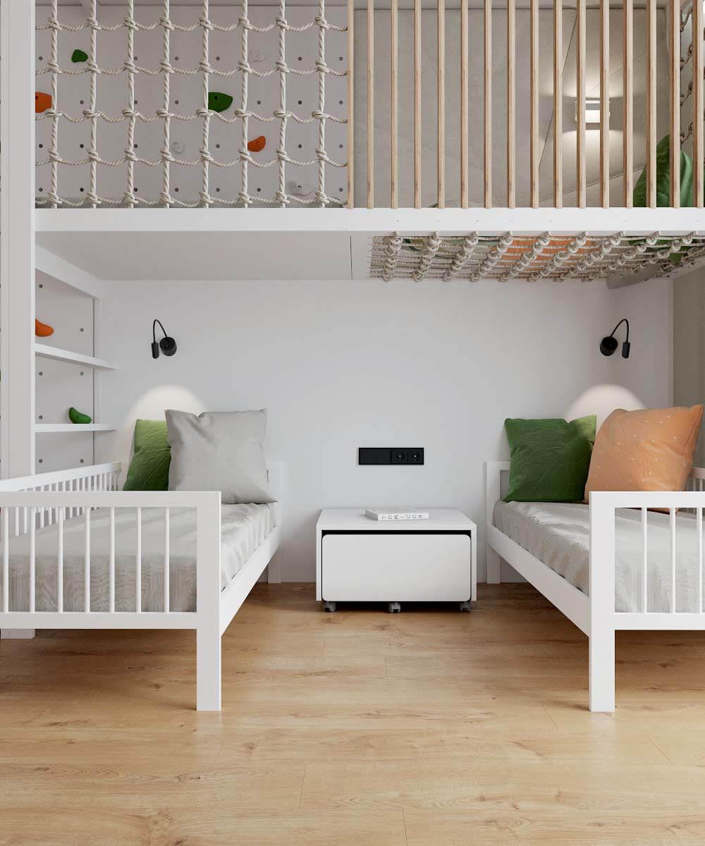 Мебель в детскую комнату для разнополых детей проект 3529-12