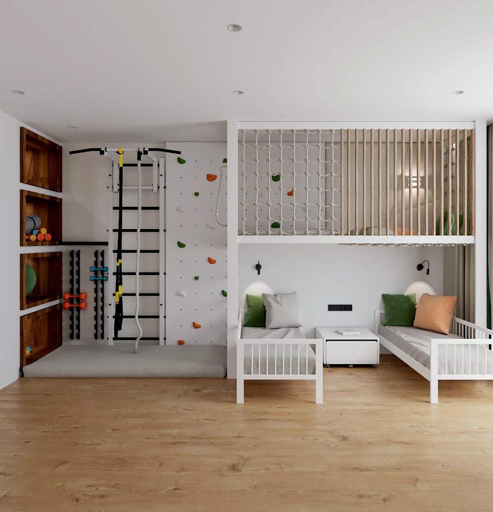 Мебель в детскую комнату для разнополых детей проект 3529-2