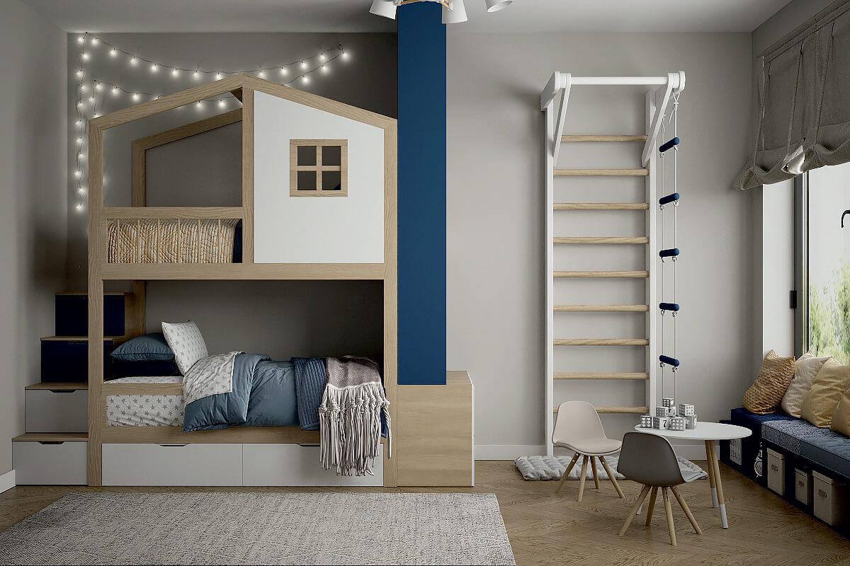 Мебель в детскую спальню 2 девочек проект 4475-1