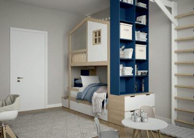 Светлая мебель в детскую спальню двух девочек — проект 4475