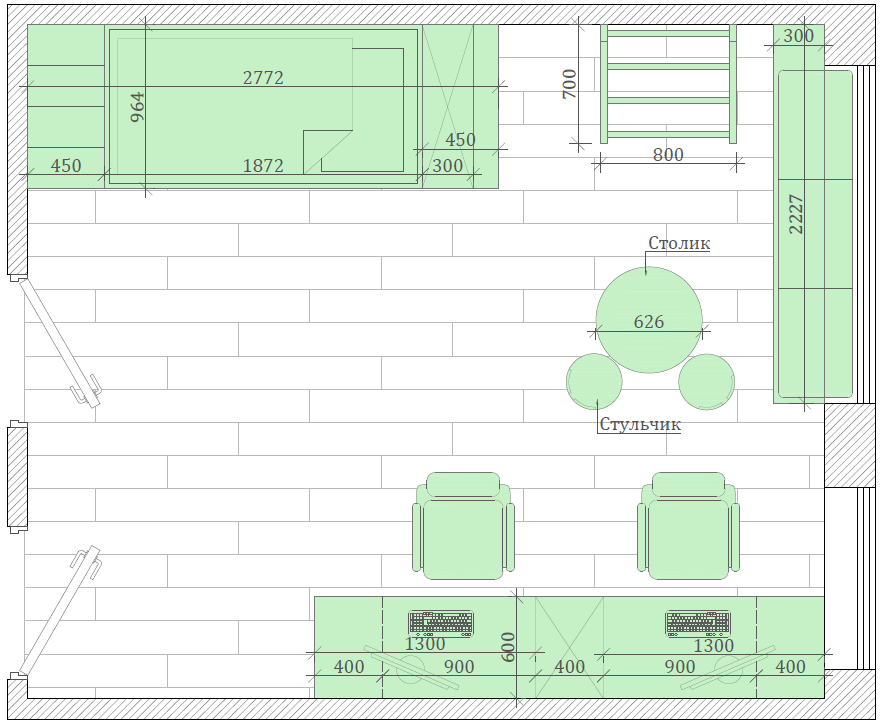 Мебель в детскую спальню 2 девочек проект 4475-6