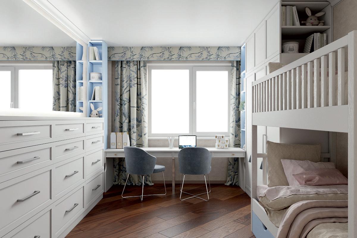 Мебель в детскую спальню 2 девочек проект 4733-1