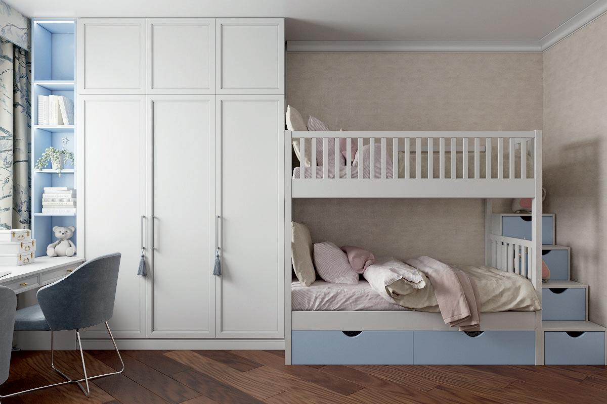 Мебель в детскую спальню 2 девочек проект 4733-3