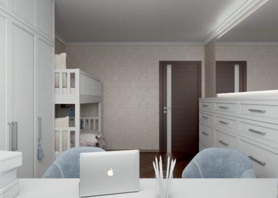 Удобная мебель в детскую спальню двух девочек — проект 4733