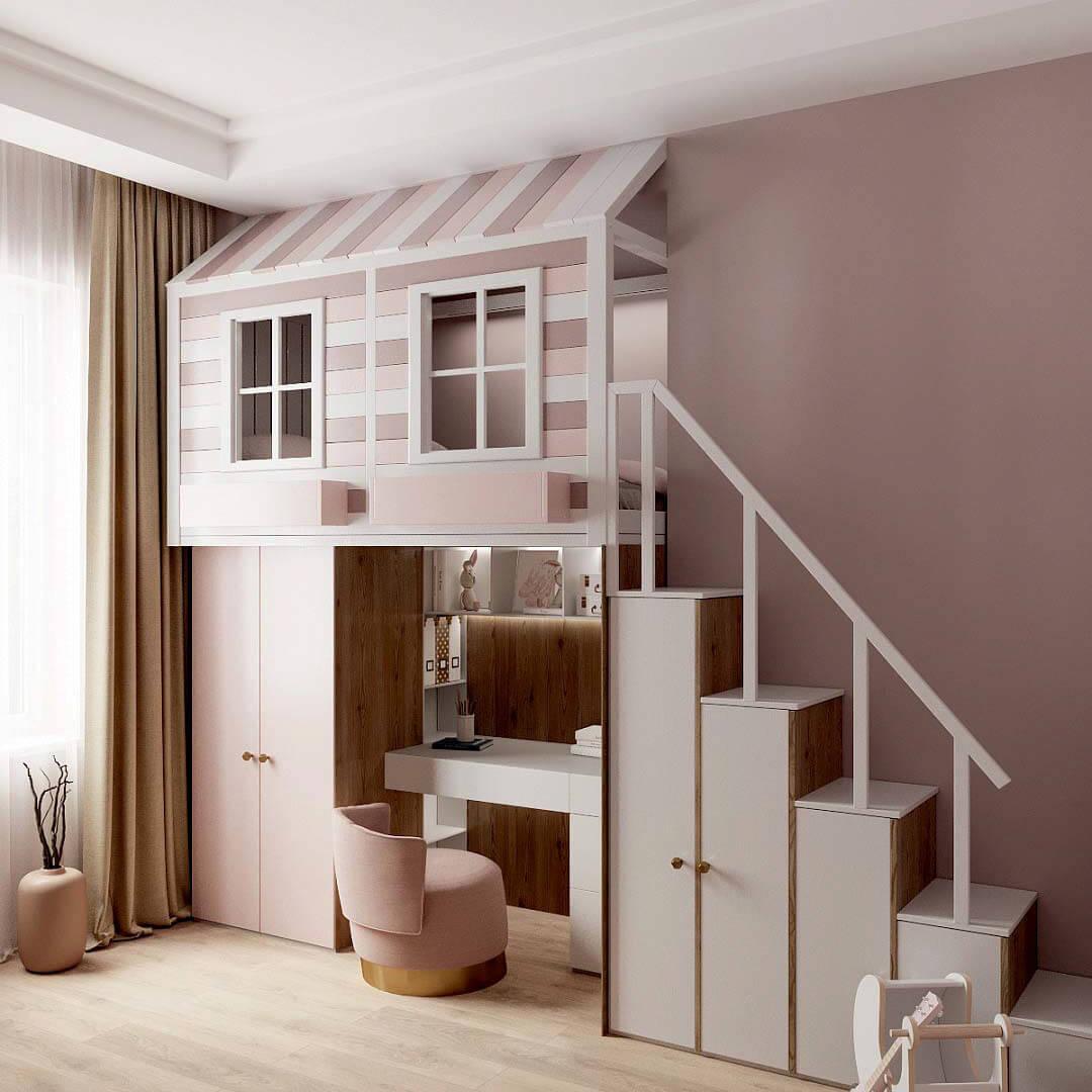 Мебель в детскую спальню девочки проект 3459-1-1