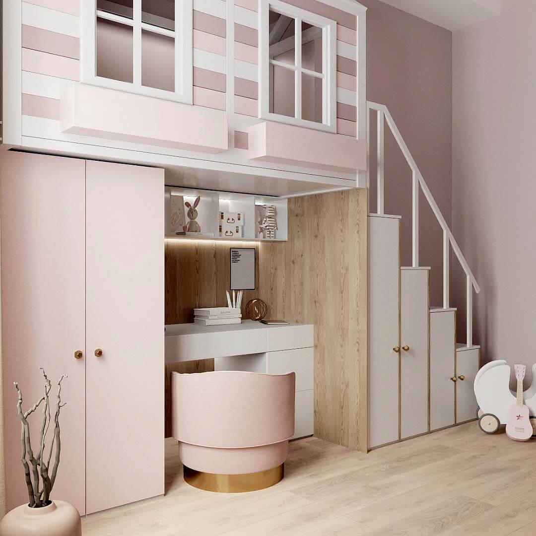 Мебель в детскую спальню девочки проект 3459-1-2