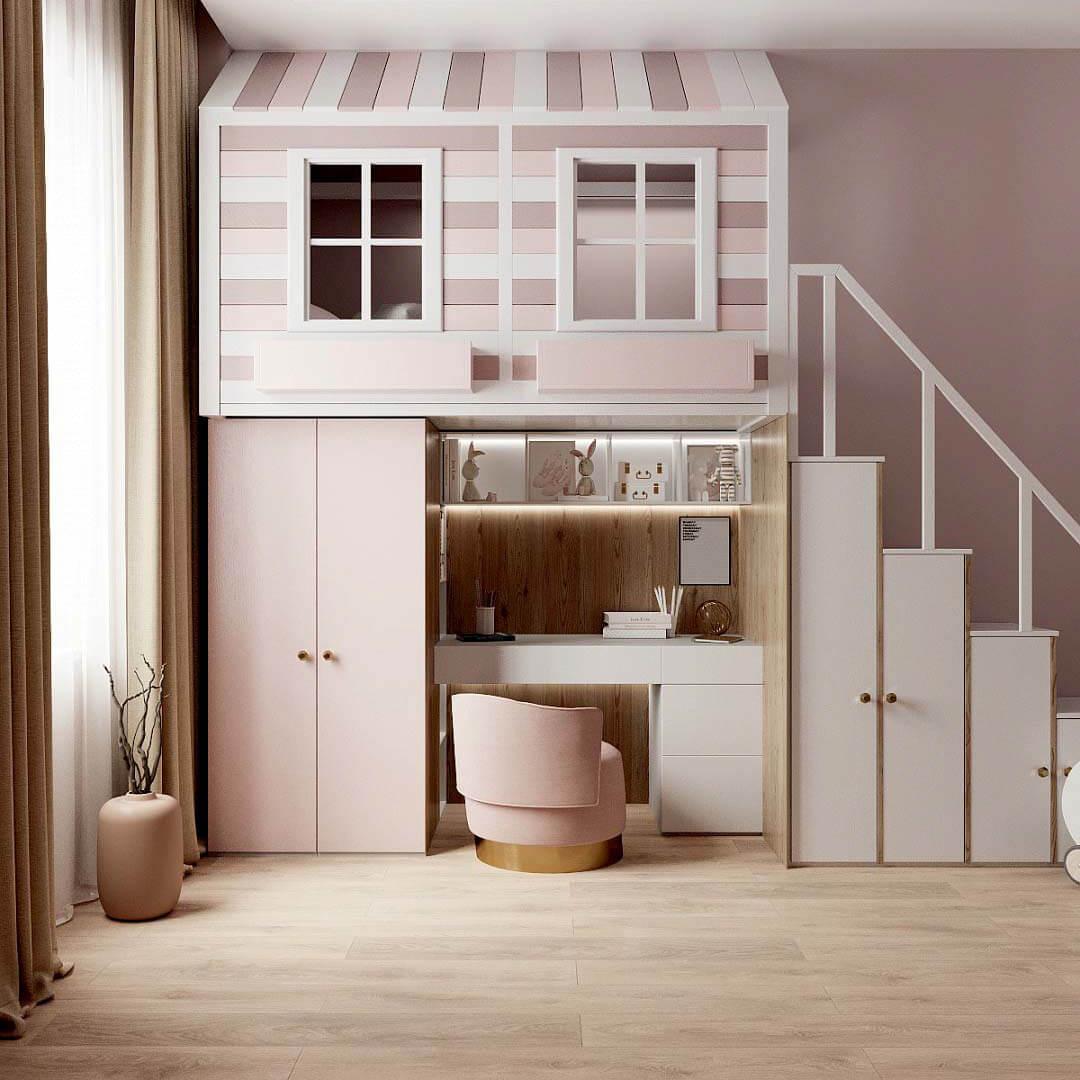 Мебель в детскую спальню девочки проект 3459-1-3