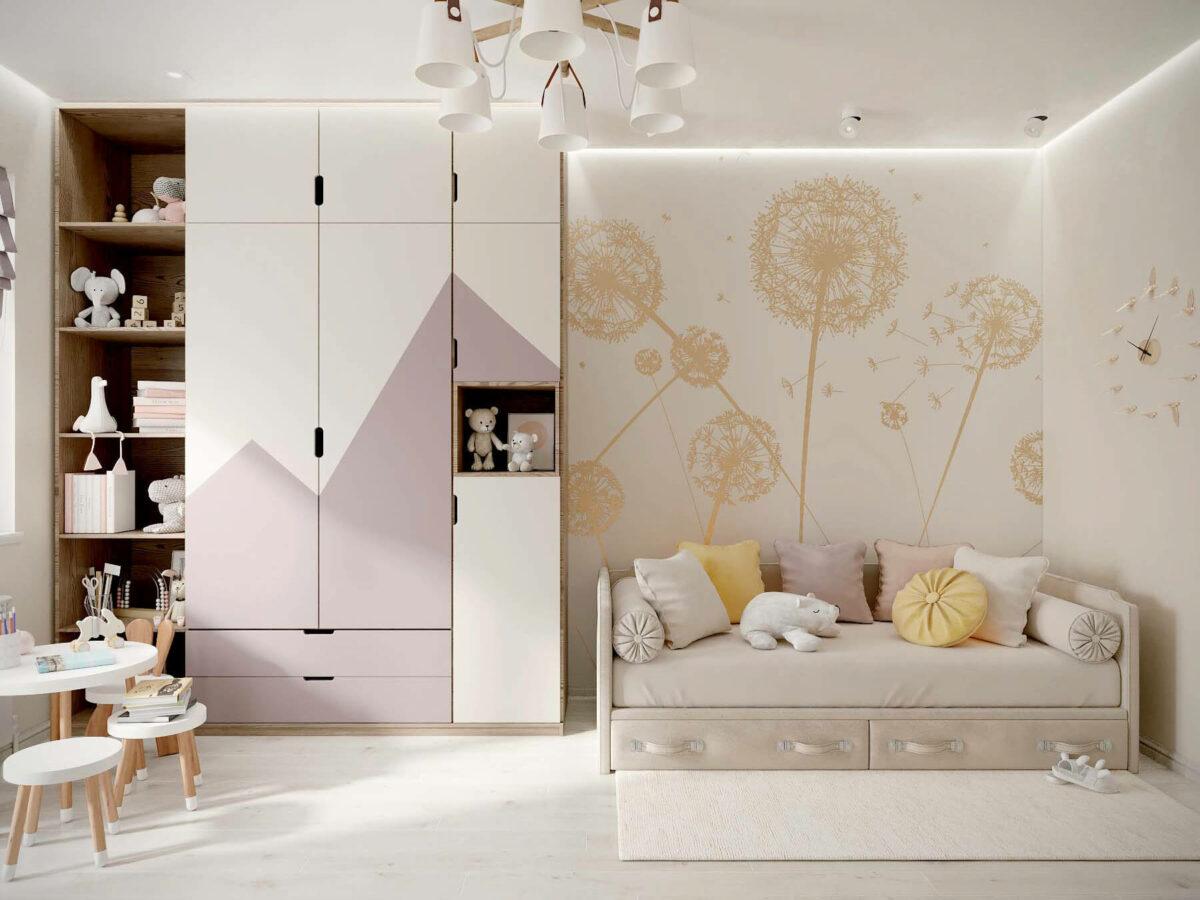 Мебель в детскую спальню девочки проект 3553-2