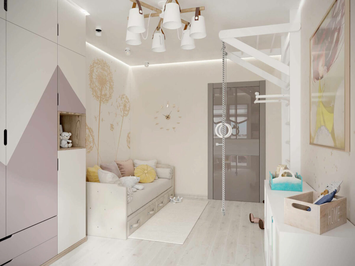 Мебель в детскую спальню девочки проект 3553-4