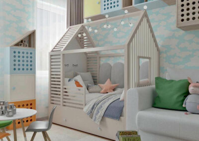 Мебель в нежных тонах в детскую спальню девочки — проект 4205