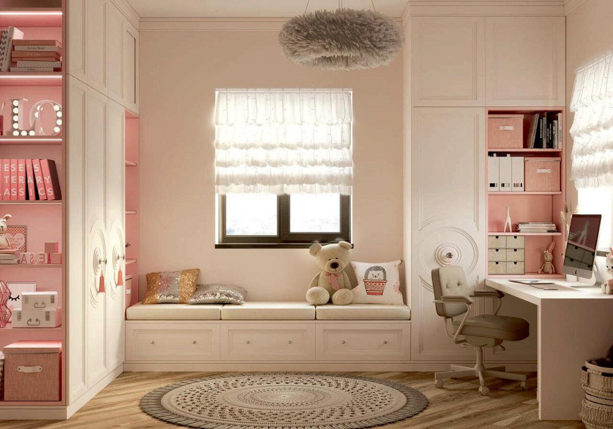 Мебель в детскую спальню девочки проект 4337-2