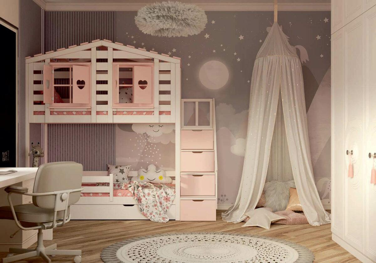 Мебель в детскую спальню девочки проект 4337-3